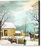 Home To Thanksgiving Canvas Print by Currier and Ives