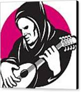 Hooded Man Playing Banjo Guitar Canvas Print by Aloysius Patrimonio