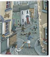 Hopscotch Down The Hill Canvas Print by Peter Adderley