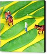 Horse Riding On Snow Peas Little People On Food Canvas Print by Paul Ge