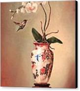Hummingbird And White Orchid Canvas Print by Lori  McNee