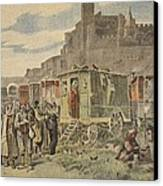 Hungarian Gypsies Outside Carcassonne Canvas Print by French School