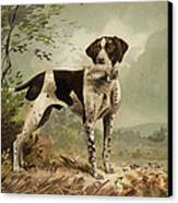 Hunting Dog Circa 1879 Canvas Print by Aged Pixel