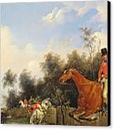 Hunting Scene Canvas Print by Bernard Edouard Swebach