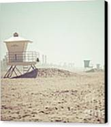 Huntington Beach Lifeguard Tower #1 Retro Photo Canvas Print by Paul Velgos