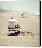 Huntington Beach Lifeguard Tower #1 Vintage Picture Canvas Print by Paul Velgos