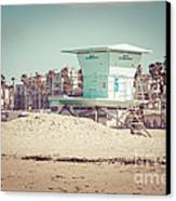 Huntington Beach Lifeguard Tower #5 Retro Picture Canvas Print by Paul Velgos