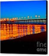Huntington Beach Pier - Nightside Canvas Print by Jim Carrell