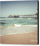 Huntington Beach Pier Vintage Toned Photo Canvas Print by Paul Velgos
