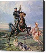 Huntsman With The Borzois Canvas Print by Rudolph Frenz