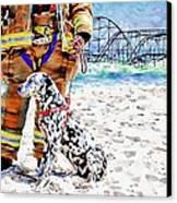 Hurricane Sandy Fireman And Dog  Canvas Print by Jessica Cirz