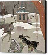 Ice Skating On The Frozen Lake Canvas Print by Georges Barbier