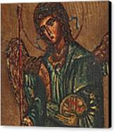 Icon Of Archangel Michael - Painting On The Wood Canvas Print by Nenad Cerovic