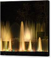 Illuminated Dancing Fountains Canvas Print by Sally Weigand