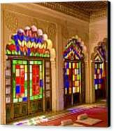 India, Stained Glass Windows Of Fort Canvas Print by Bill Bachmann