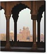 India, View Of Red Fort From Jama Canvas Print by Richard Maschmeyer
