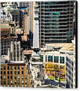 Indianapolis Aerial Picture Of Monument Circle Canvas Print by Paul Velgos