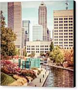 Indianapolis Skyline Old Retro Picture Canvas Print by Paul Velgos