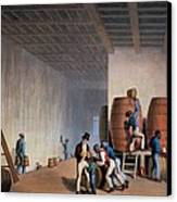 Inside The Distillery, From Ten Views Canvas Print by William Clark