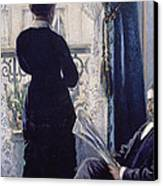 Interior Woman At The Window Canvas Print by Gustave Caillebotte
