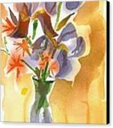 Irises With Stars Of Bethlehem Canvas Print by Kip DeVore