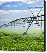 Irrigation Equipment On Farm Field Canvas Print by Elena Elisseeva