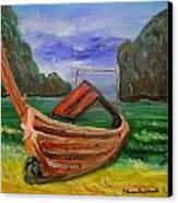 Island Canoe Canvas Print by Louise Burkhardt