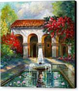 Italian Abbey Garden Scene With Fountain Canvas Print by Regina Femrite