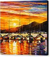 Italy Naples Harbor Canvas Print by Leonid Afremov