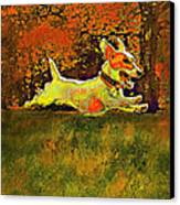 Jack Russell In Autumn Canvas Print by Jane Schnetlage