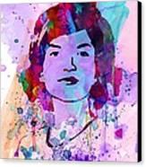 Jackie Kennedy Watercolor Canvas Print by Naxart Studio