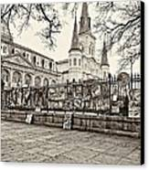 Jackson Square Winter Sepia Canvas Print by Steve Harrington