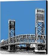 Jacksonville Skyline 2  Main Street Bridge - Slate Blue Canvas Print by DB Artist
