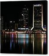 Jacksonville Skyline At Night Canvas Print by Georgia Fowler