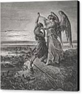 Jacob Wrestling With The Angel Canvas Print by Gustave Dore