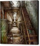 Jail - Eastern State Penitentiary - Down A Lonely Corridor Canvas Print by Mike Savad