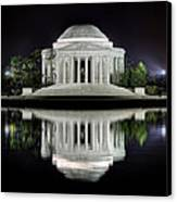 Jefferson Memorial - Night Reflection Canvas Print by Metro DC Photography