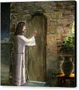 Jesus Knocking At The Door Canvas Print by Cecilia Brendel
