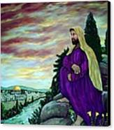 Jesus Overlooking Jerusalem -1 Canvas Print by Ave Hurley
