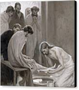 Jesus Washing The Feet Of His Disciples Canvas Print by Albert Gustaf Aristides Edelfelt