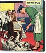 John Bull 1957 1950s Uk Dogs Cleaning Canvas Print by The Advertising Archives
