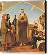 John Wycliffe Reading His Translation Of The Bible To John Of Gaunt Canvas Print by Philip Ralley