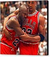 Jordan And Pippen Canvas Print by Paint Splat