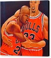 Jordan And Pippen Canvas Print by Yechiel Abramov