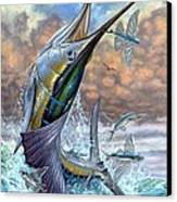 Jumping Sailfish And Flying Fishes Canvas Print by Terry Fox