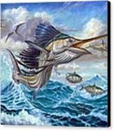 Jumping Sailfish And Small Fish Canvas Print by Terry Fox