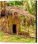 Jungle Hut In A Tropical Rainforest Canvas Print by Colin Utz