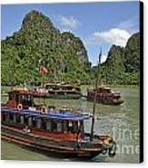 Junk Boats In Halong Bay Canvas Print by Sami Sarkis