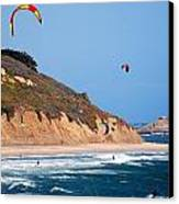 Kite Surfers Canvas Print by Bob Wall