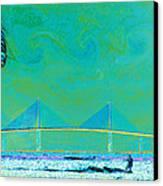 Kiteboarding The Bay Canvas Print by David Lee Thompson